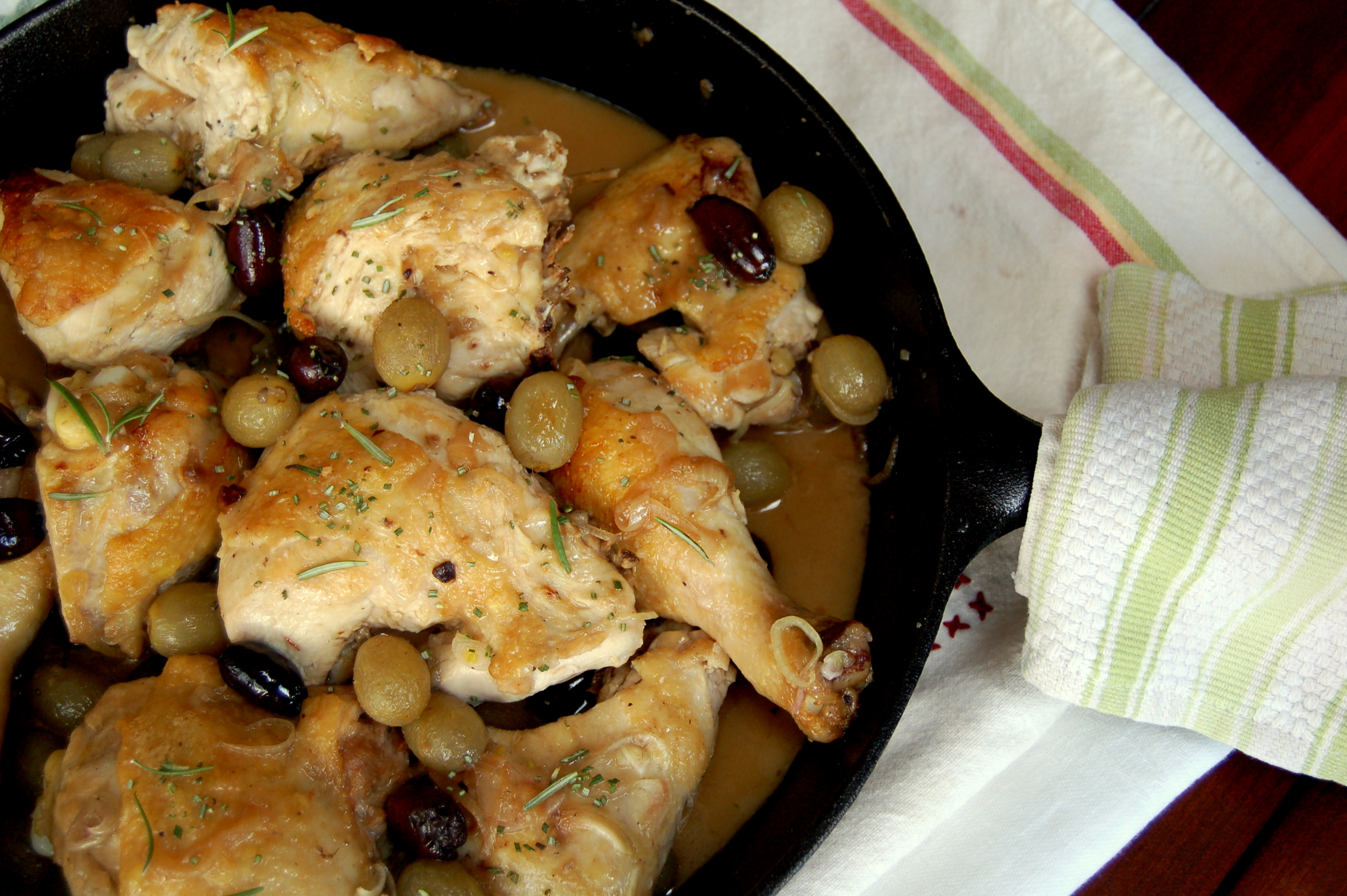 pan roasted chicken with grapes and olives print recipe adapted