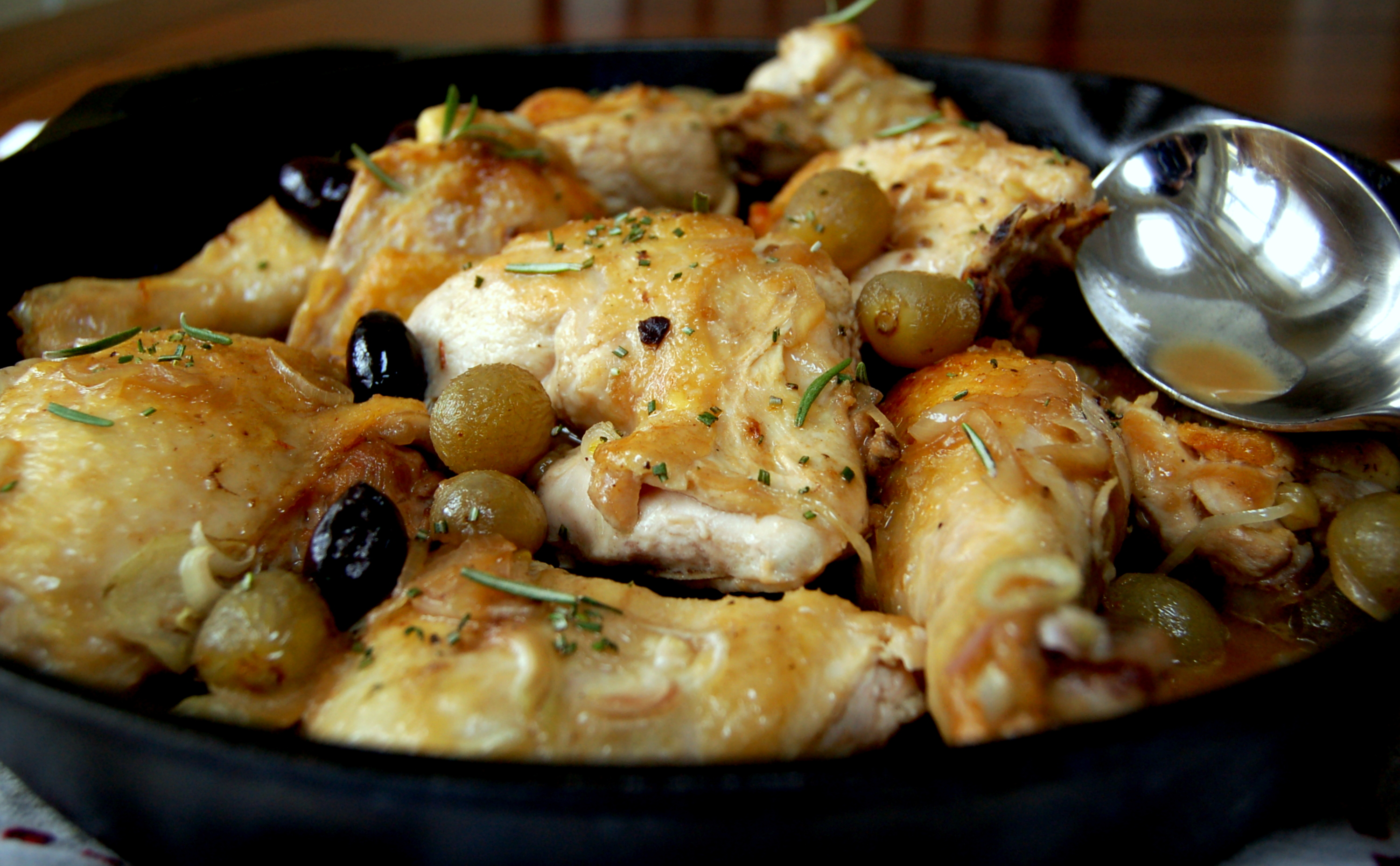 Pan Roasted Chicken with Olives and Grapes | One Family Meal
