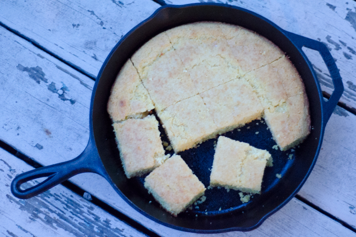 cornbread pieces in skillet