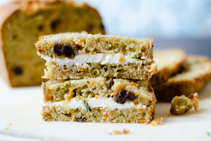 zucchini carrot cream cheese sandwiches