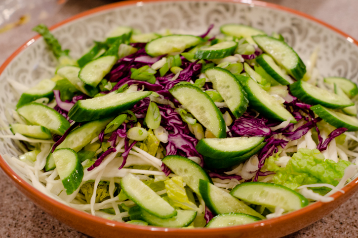 chopped salad cucumber layer